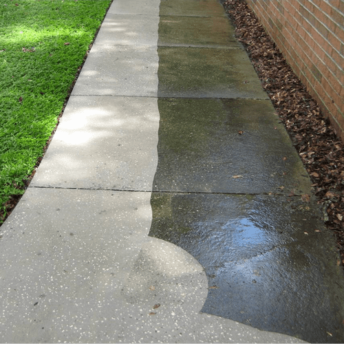 Another really Slippery Sidewalk getting Pressure Cleaned and Bleached