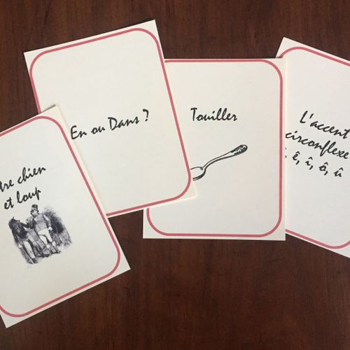 Flashcards that are part of the materials I create for and give to students