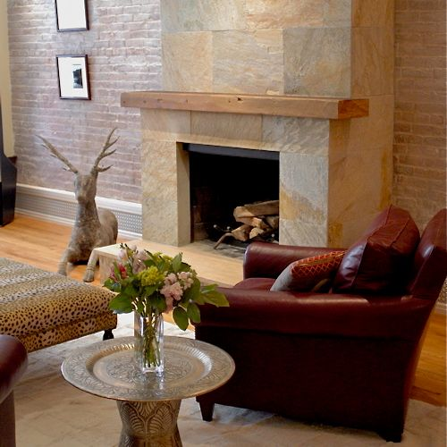 Renovated brick fireplace