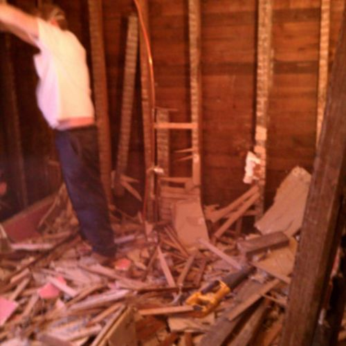 We removed all the walls and floor to hang drywall and Level out flooring.