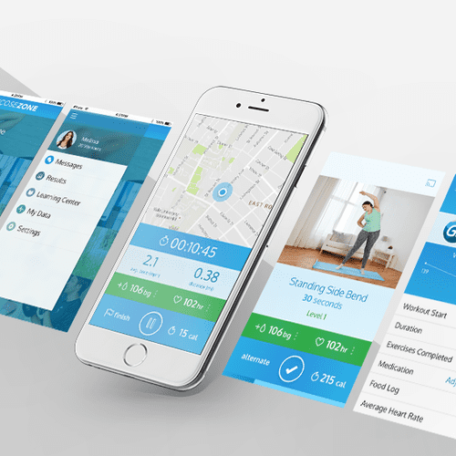 Mobile application design for a diabetes fitness app.