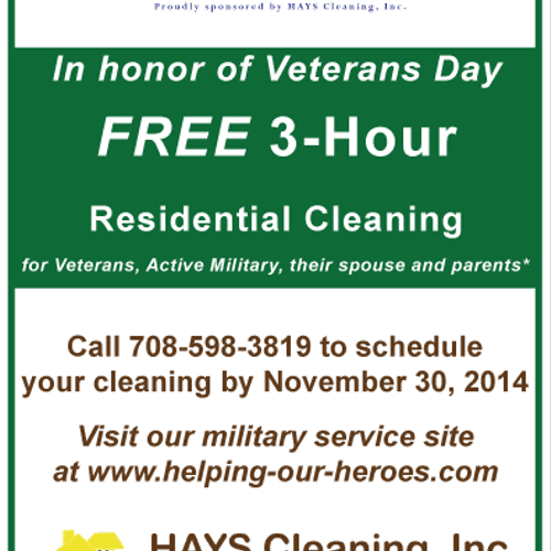 FREE 3 hour cleaning for local Veterans, active military, their spouses and parents. Call by 11/30/14 to schedule!