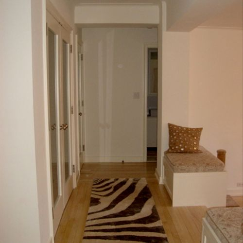 Renovated hallway, built in closets