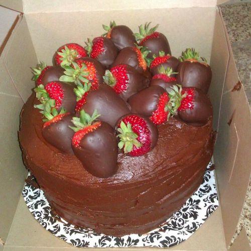Yellow Cake, Chocolate Buttercream and Chocolate Covered Strawberries