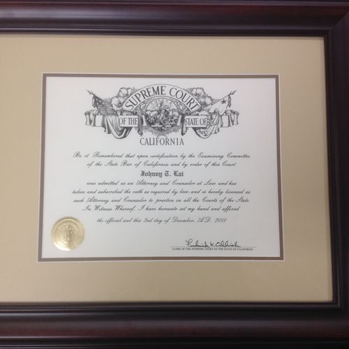 U.S. Supreme Court Certification: Certified to practice in the United States Supreme Court.