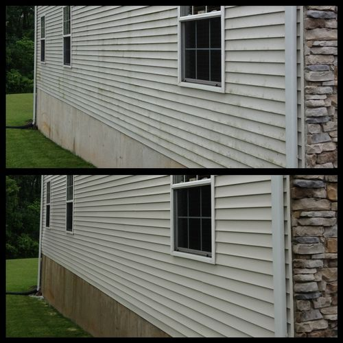 Alburtis Pa house washing, before & after