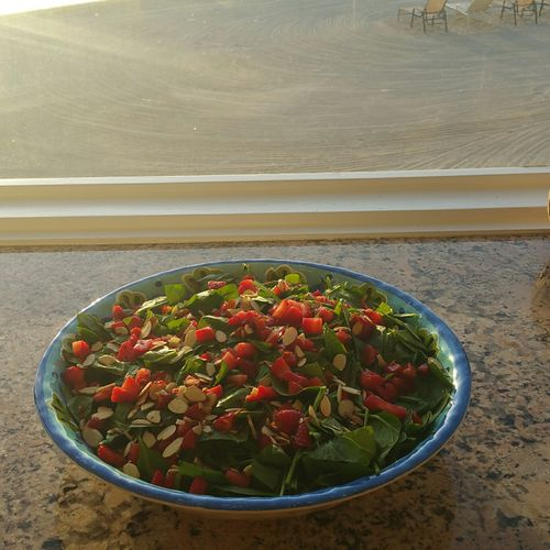 Fresh  Spinach and Strawberry Salad with Toasted Almonds.