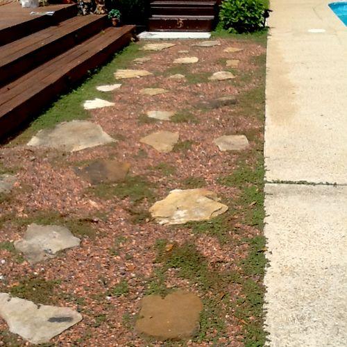 Sod & Paver Stone Walkway BEFORE