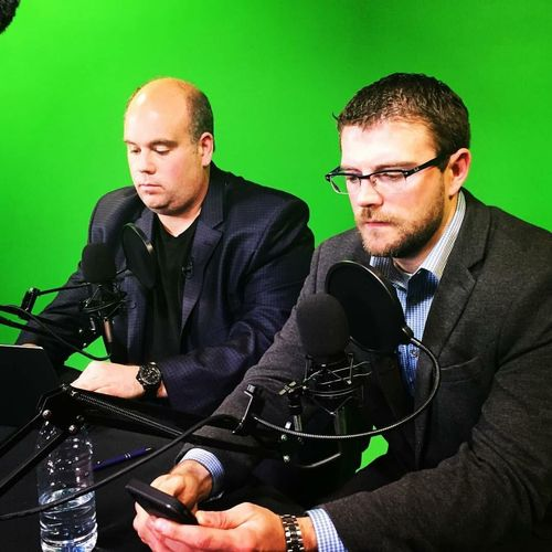 Justinian Lane (left) and Dustin Fox (right) are preparing to speak on camera about personal injury cases.