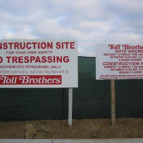 Toll Brothers Inc. 4'x8' site signs