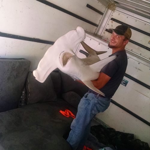 We move sharks too. Customer was good on fishing. We were need to move a stuffed shark which he caught not long time ago in Florida, with his furniture.
