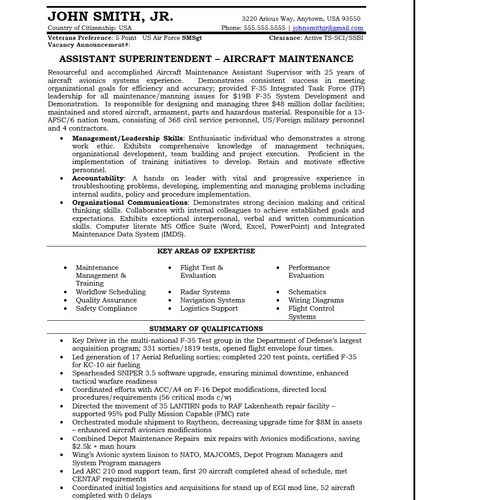 Sample Military Transition, page 1 Transitioning out the the military, looking for a position in the public sector  similiar to the one held in the military  - Hired within 30 days