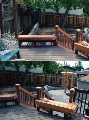 add benches to existing deck also patio, staircase, purgla for shade and looks.