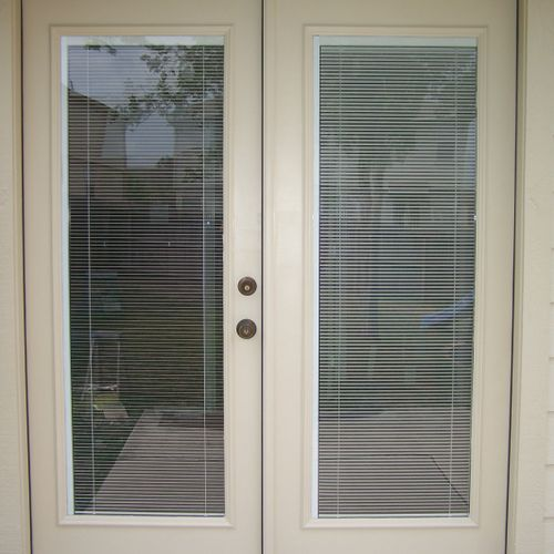 This French door we installed has the in-between blinds and low-e glass.
