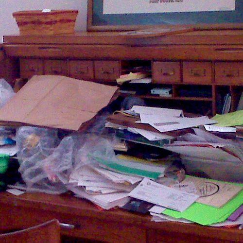 Home Desk - Rolltop - Before being organizedd