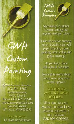GWH Custom Painting Shepherdstown, WV Thumbtack