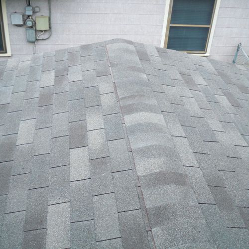 This was a re-roof we did without adding ridge-vents.