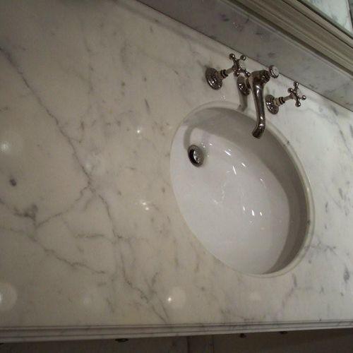 White Carrera Marble sink restoration