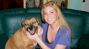 """This is Kara with her rescue boxer mix Shayla. """"I couldnt imagine my life without her"""" She goes everywhere with me, her favorite thing to do is go on car rides   :)"""