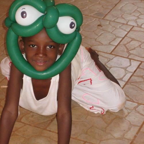 Frog Costume for Camp Play in Mali