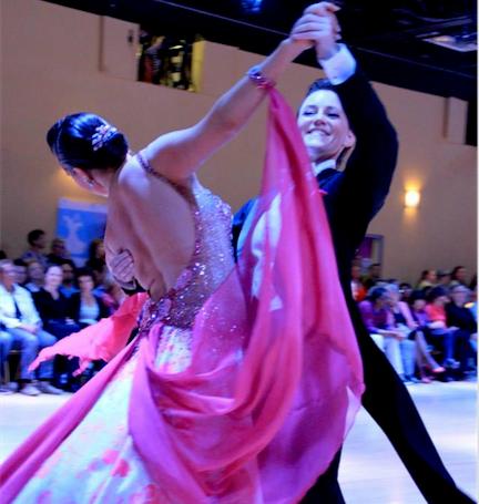 Emily and dance partner Kieren Jameson rocking the waltz in 2014 April Follies DanceSport competition.