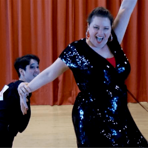 Students Katie and Laura, competing at April Follies Same-Gender DanceSport competition.