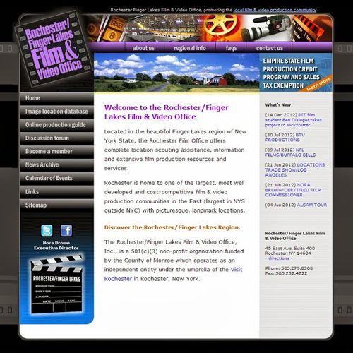 HTML website designed for the Rochester/Finger Lakes Film & video Office.
