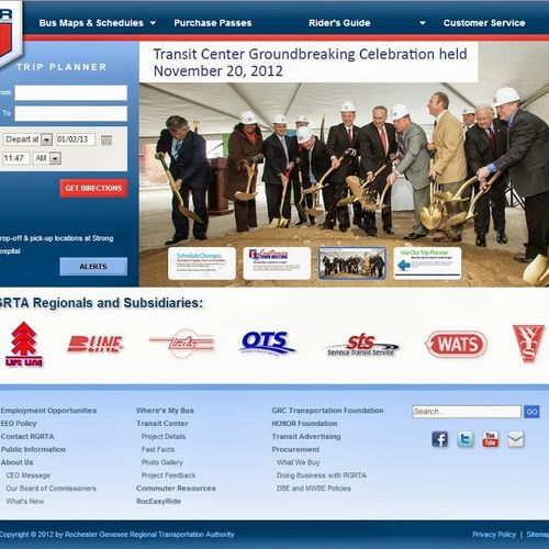 CMS powered site designed for Rochester Genesee Regional Transportation Authority.