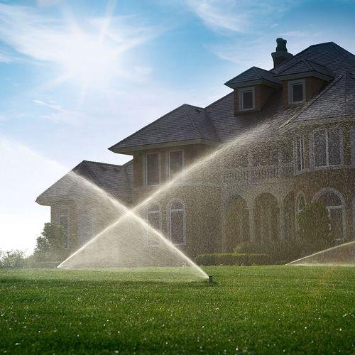 Residential installation using Hunter I-20 sprinkler heads.