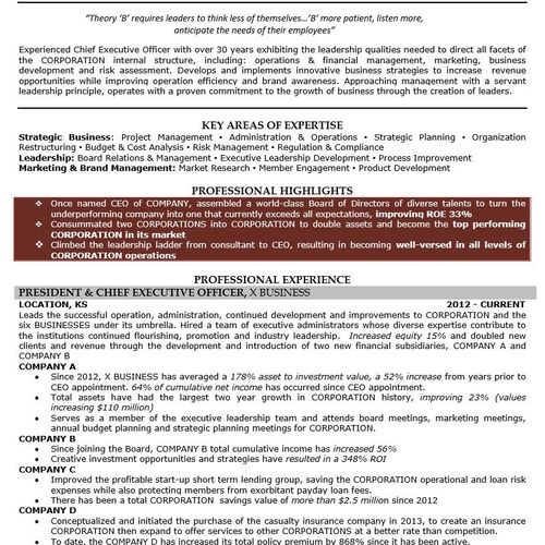 Executive/C-Suite Resume Page 1