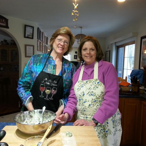 """These two lovely ladies wanted to learn how to make Spanakopita; which I taught as an appetizer. The folding method (making the triangles) was a little challenging, So they video taped it.Look for the YouTube link """"Making Spanakopita"""""""