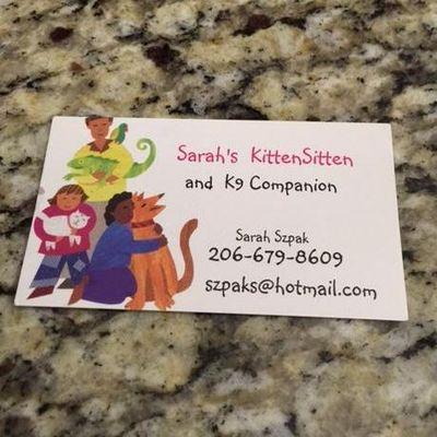 Sarah's KittenSitten and K9 Companion Kirkland, WA Thumbtack
