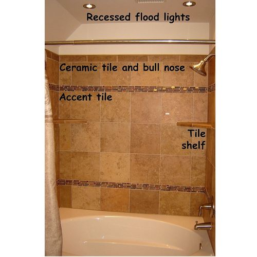 Bathroom remodel (1) - ceramic tile wall with mosaic inlay and tile shelves