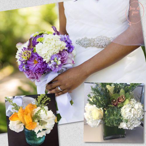 bouquet: calla lilies and hydrangea