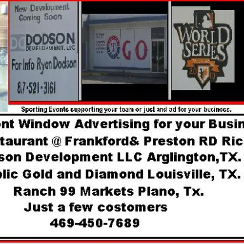 Store Front Window Advertising, Sporting Event, Holidays, Specials, Let them Know in the Parking lot.  4694507689