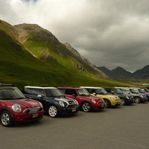 Mini Cooper rally to Hatcher Pass