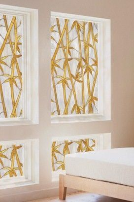 Bamboo Privacy Stained Glass Decorative Window Film