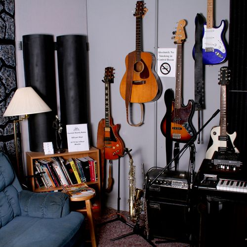 Wall of instruments in control room
