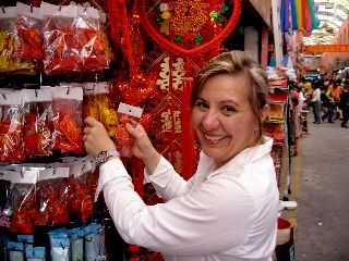 Searching for feng shui 'stuff' in a Chinese market in Guangzhou,China.