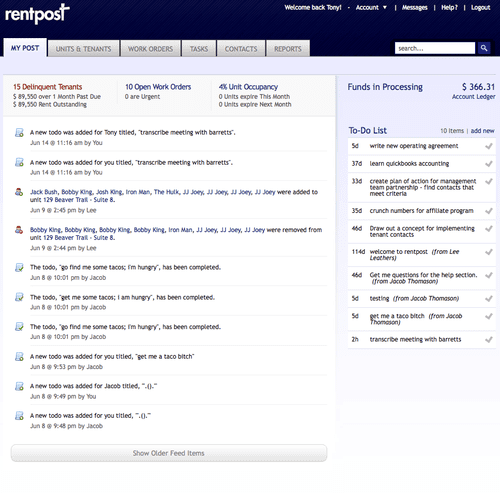 Your RentPost feed list keeps you in tune with all recent activity in your business right when you sign in!