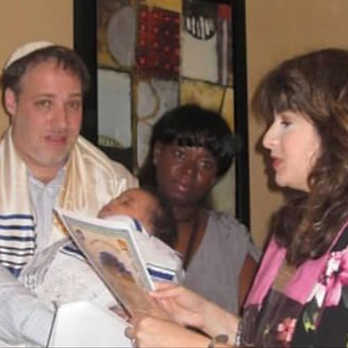 Cantor Barbra officiating at a baby naming ceremony