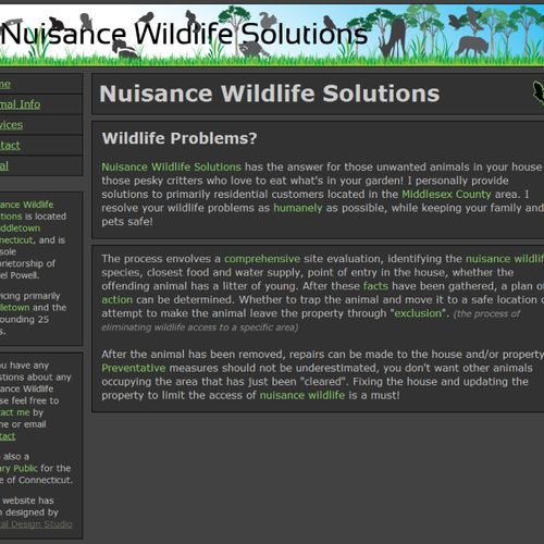 Nuisance Wildlife Solutions home web page designed by Digital Design Studio