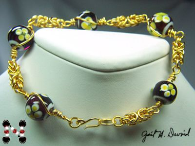 Byzantine Chain Maille with Lampwork Beads in Gold
