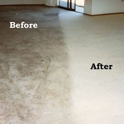 Before and after of parking lot grease on white carpet.