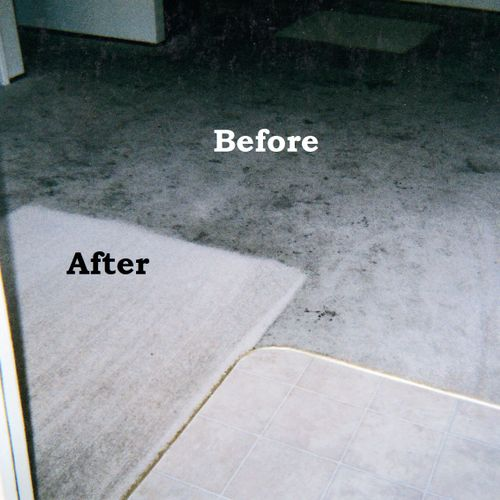 Before and after of soda and juice spills on white carpet.