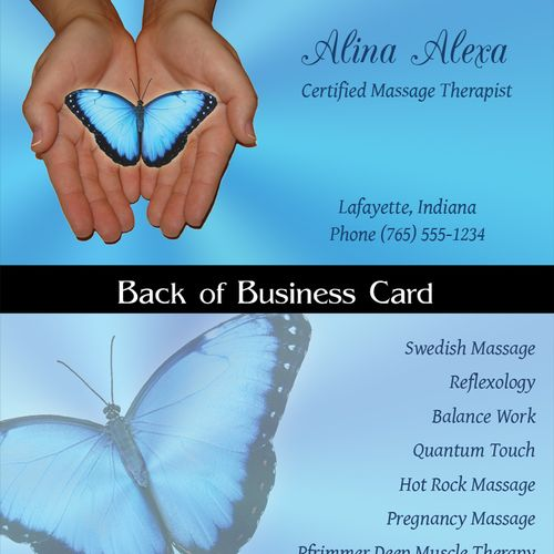 Business card & logo I created for a relative's massage business.