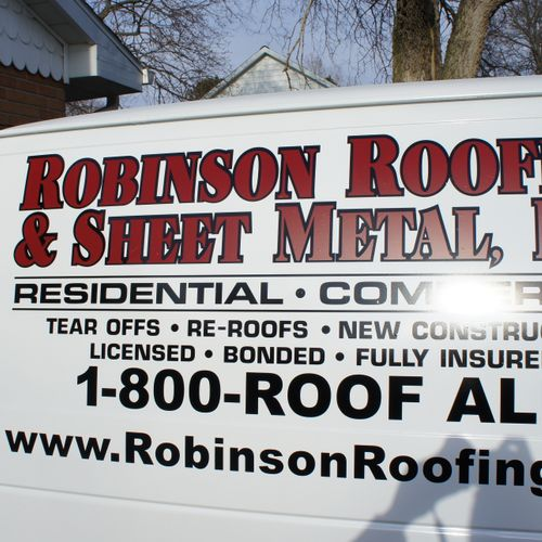 Work Van Side - Robinson Roofing & Sheet Metal - DeKalb, DuPage, Kendall, Will and Kane County roofing services.