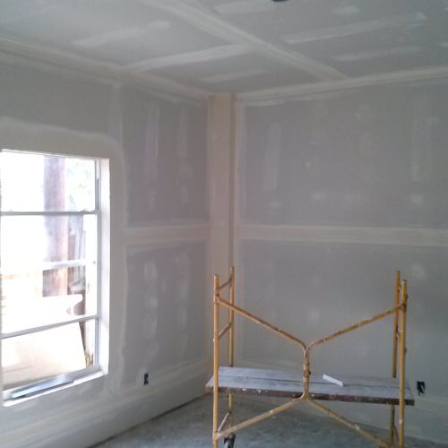 Room remodel drywall job before texture and paint