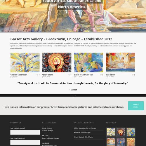 Garsot Arts Gallery E-commerce Website with Wordpress