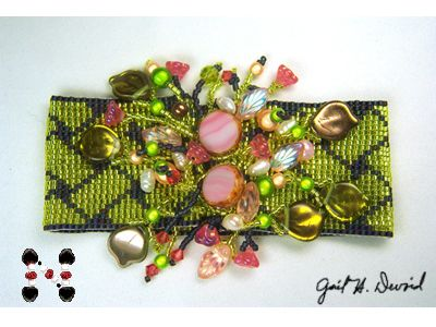 Loomed Piece Embellished with Flowers, Pearls, and Crystals